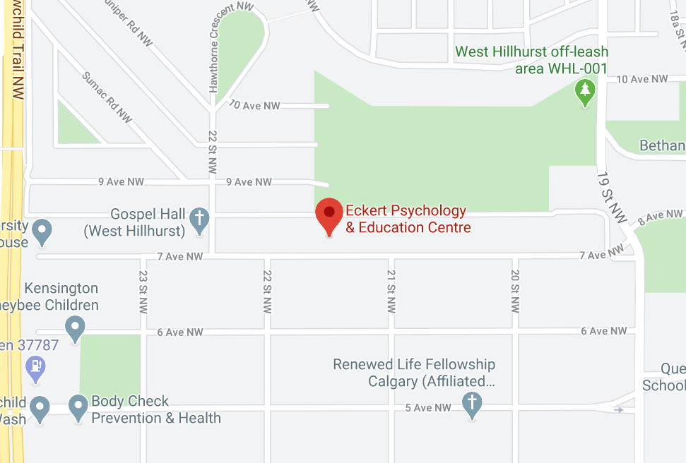 Map to Eckert Psychology & Education Centre in Calgary, AB